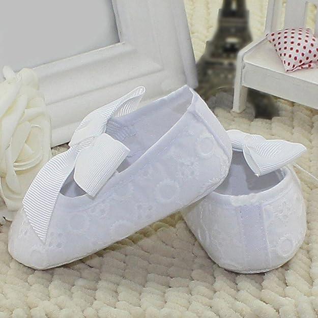 07006e2b2 AIVTALK Zapatos Niñas Zapatitos Bebé Prewalker Zapatillas Antideslizante  Sandalias Paño Primesos Pasos Suela Blanda Bowknot 11-13CM 0-18Meses   Amazon.es  ...