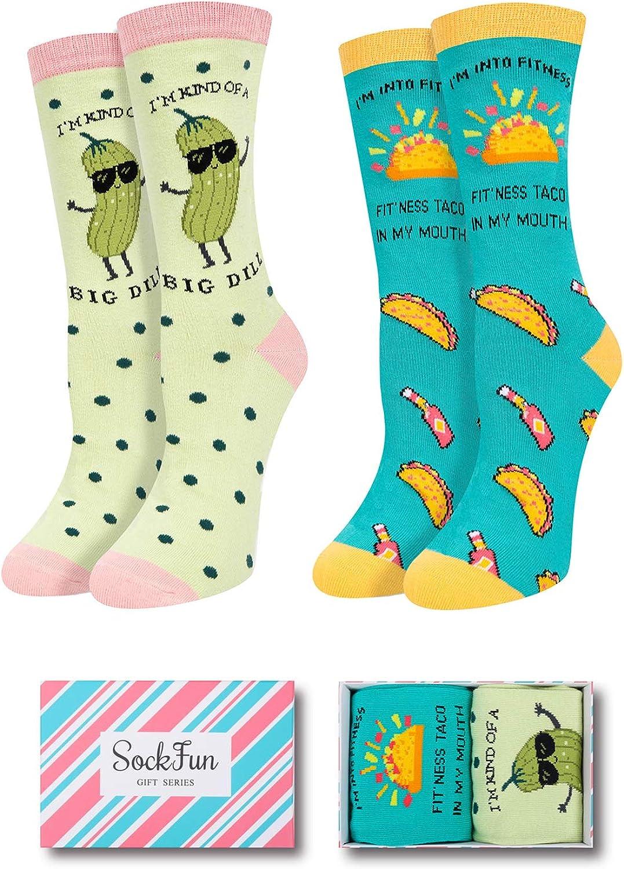 SOCKFUN Funny Novelty Bigdill Taco Pineapple Socks, Colorful Gift for Women