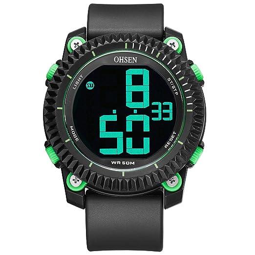 OHSEN Watch 1710 Silicona para Hombre, Reloj Deportivo electrónico a Prueba de Agua al Aire Libre: Amazon.es: Relojes