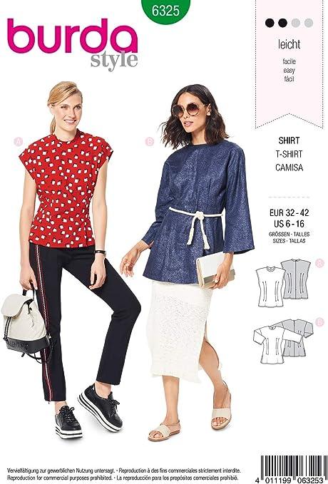 Burda 6325 - Patrón de Costura para Camisetas de Mujer (Talla ...