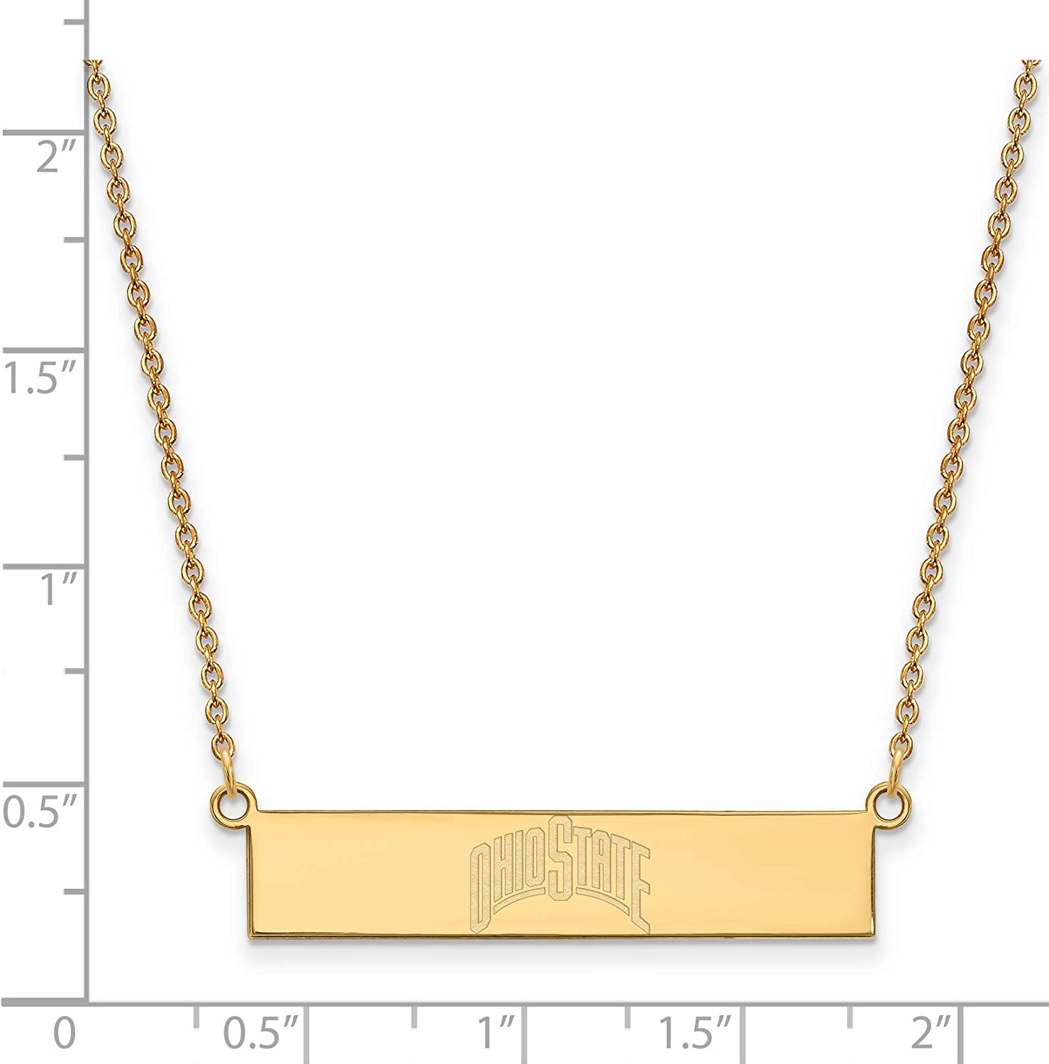 Ohio State University Buckeyes School Name on Bar Pendant Necklace in Gold Plated Sterling Silver18 Inches