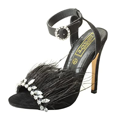 20e5e8b2ac6 Tilly London High End Womens Studded Strappy Sandals High Heel Designer  Feather Diamante Pearl Shoes Court Stiletto Black Silver Gold Pink   Amazon.co.uk  ...