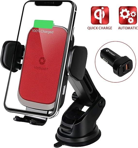 10W para Samsung Galaxy Note 10//9//8//S10//S10e//S10+//S9//S8//S8+ Qi Salida de Aire Car Charger Soporte M/óvil Cargador Inal/ámbrico Coche Carga R/ápida 7.5W para iPhone 11//Pro 11 //Pro Max//XS//X//XR//8//8+