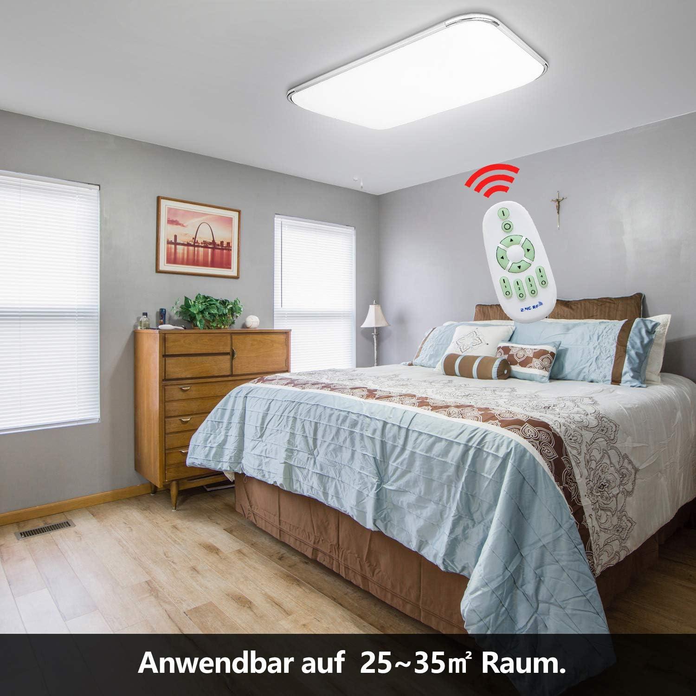 Hengda 48W imperm/éable /à l/'eau Dimmable LED Plafonnier moderne LED Lampe de plafond Blanc Chaud 6500K Applicable /à la salle de bain la chambre la cuisine le salon le balcon et le couloir