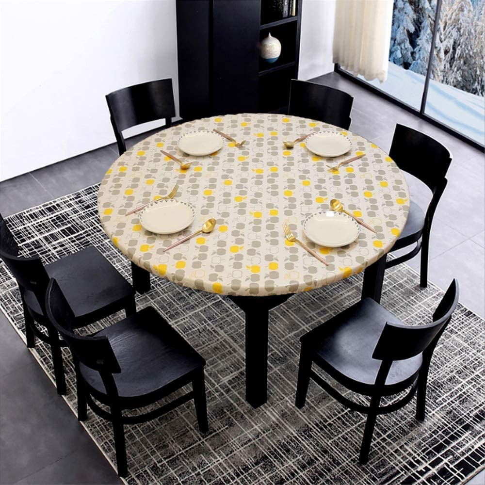 """Accgz Vinyl Fitted Tablecloth Cover Round Elastic Fitted Edged Flannel Backed Table Cover Stretched to Fit 40-44Inch, White Leaves Sky Blue (Small 40""""- 44"""", Yellow Gray Apples)"""