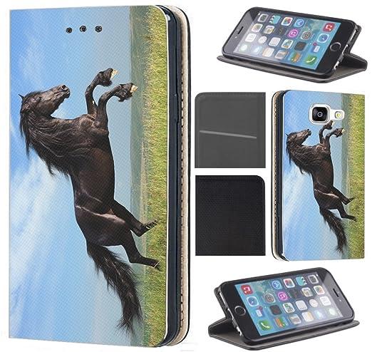 CoverFix Premium Hülle für Samsung Galaxy A5 (Modell 2017) A520 Flip Cover Schutzhülle Kunstleder Flip Case Motiv (370 Pferd