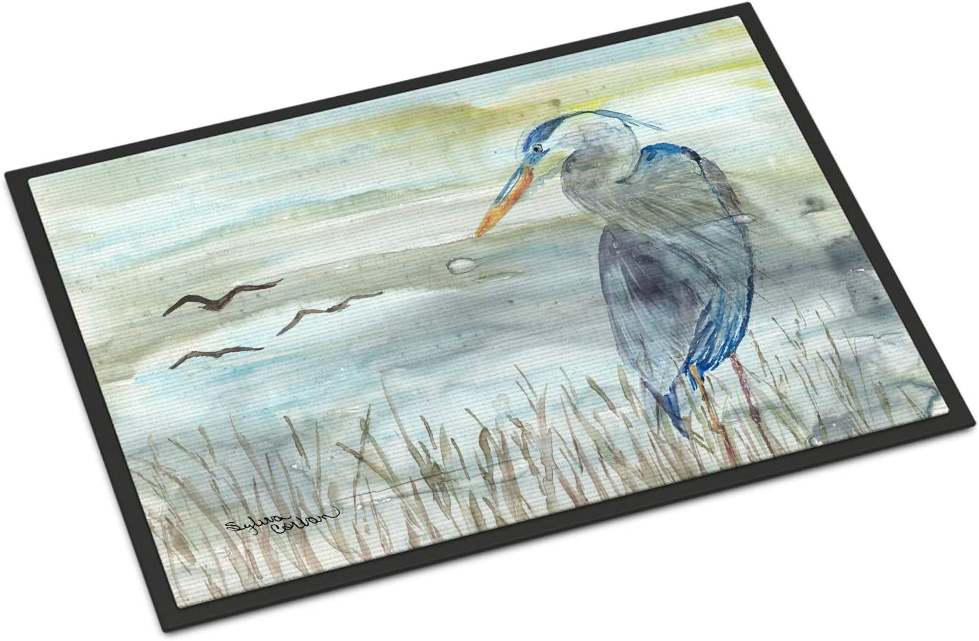 Caroline's Treasures SC2007JMAT Blue Heron Watercolor Indoor or Outdoor Mat 24x36, 24H X 36W, Multicolor