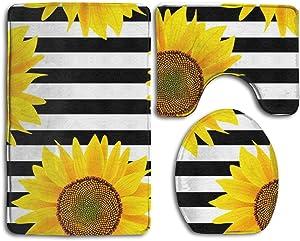 Bathroom Mat Set 3 Piece Black and White Striped Sunflower Soft Bath Rug Contour Mat Lid Cover