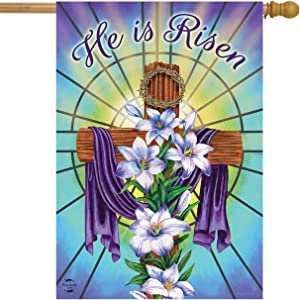 "Briarwood Lane Easter Cross Religious House Flag Holiday Lilies 28"" x 40"""