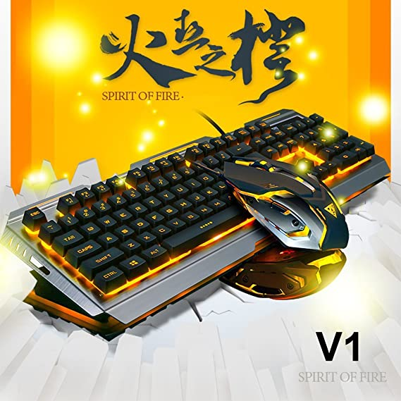 LexonElec Juego de ratón para juegos con teclado combinado con cable V1 LED retroiluminado Multimedia USB Teclado de juego Metal Impermeable + 3200DPI ...