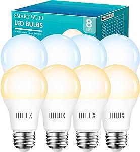 OHLUX Smart Bulbs Work with Alexa Google Home Siri, WiFi LED Light Bulb Dimmable 2700K Warm Light to 6500K Daylight, A19 E26 7W(75W Equivalent) 8Pack
