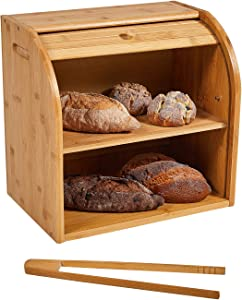 Bamboo Bread Box & 2 Layer Bread Box Large Capacity Kitchen Food Storage With bread rack