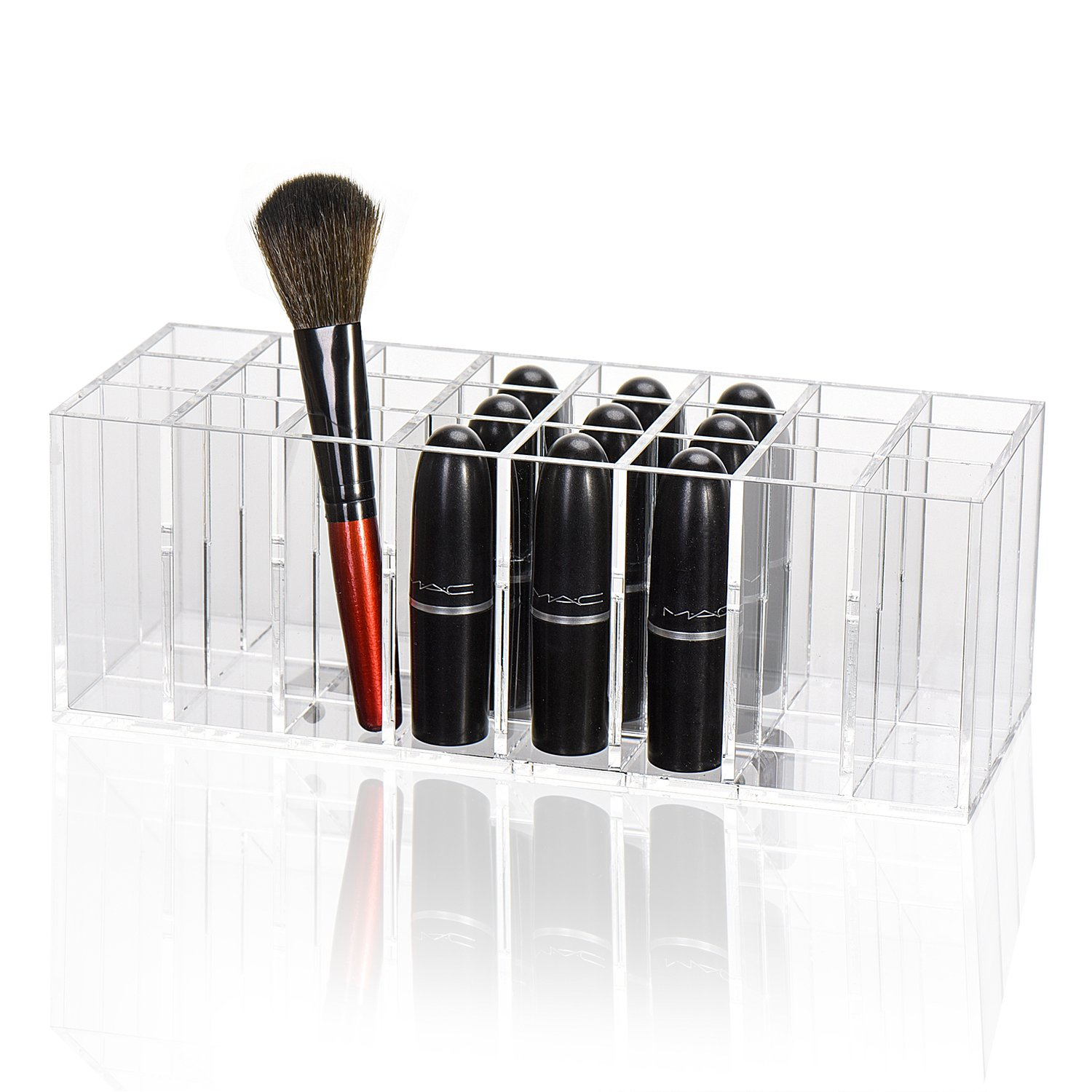 TWING Acrylic Lipstick Organizer Lip Gloss Holder Organizer, 24 Spaces Clear Acrylic Makeup Lipgloss Display Case