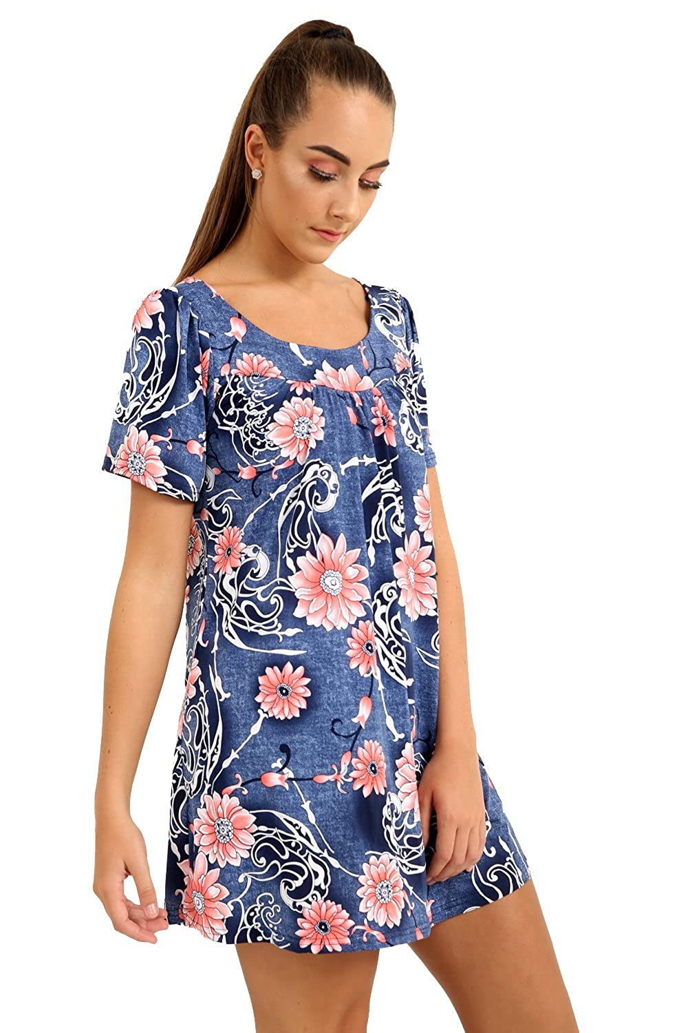 Womens Plus Size Short Sleeve Scoop Neck Veno Floral Print Smock Tunic Top 14-28