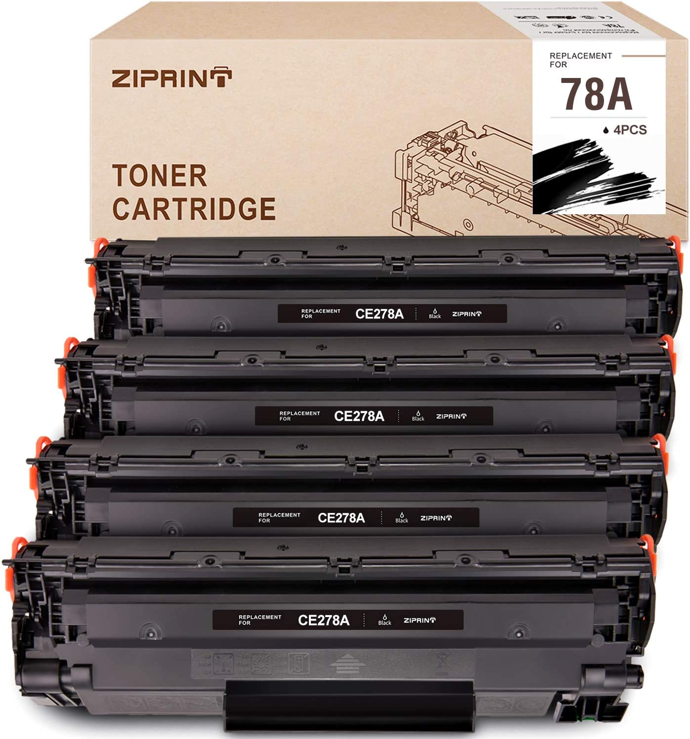 Ziprint Compatible Toner Cartridge Replacement for HP 78A CE278A Use with HP Laserjet P1606dn 1606dn M1536dnf 1536dnf MFP P1566 P1560 Toner Cartridge (Black,4-Pack)