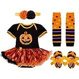 YiZYiF Neugeborenes Baby Mädchen Bekleidungsset Outfits Kürbis Halloween Kostüm Kurzarm Strampler Overall mit Tütü Röckchen + Stirnband + Beinwärmer + Schuhe