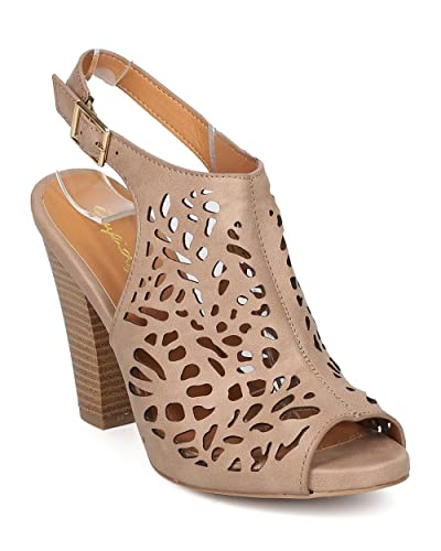Women Leatherette Perforated Mule - Dressy Casual Everyday - Chunky Heel Mule - GF27 by