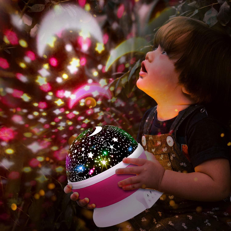 Halloween Navidad L/ámpara Proyector Infantil de Estrellas con 360/° Rotaci/ón y 7 Modos Iluminaci/ón Luz Noche para Habitaci/ón Beb/é KKTICK Lampara Proyector D/ía de los Reyes