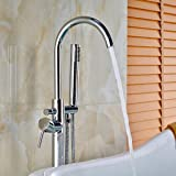 Votamuta New Chrome Polished Floor Mounted Bathtub Shower Faucets Set Free Standing Bathroom Shower Mixer Tpas with Handheld Spray