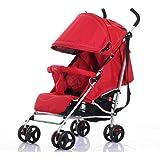 LaNova ベビーカー (大容量下カゴ装備) 軽い 4輪 赤ちゃんにやさしい レッド
