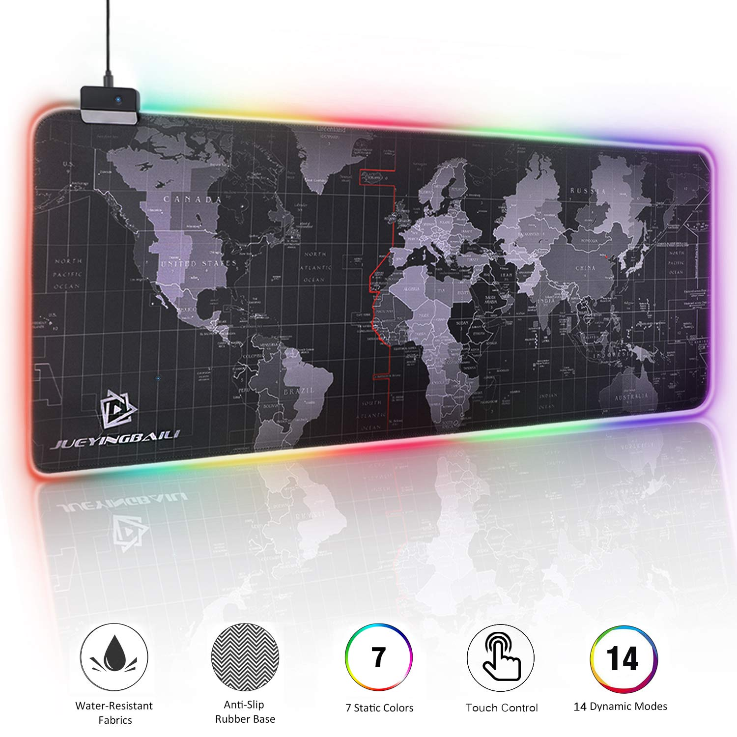 "RGB Gaming Mouse Pad - Large Cool RGB Gaming Mouse Mat With Nylon Thread Stitched Edges & Smoothly Waterproof Non-Slip Rubber Base (31.5""X 11.8"" with 14 Light Modes)"