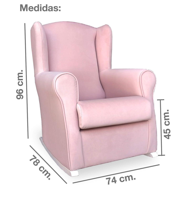 Antimanchas Rosa Medidas: 96 * 74 * 78 cm. Butaca Lactancia Rodero o mecedora- Tela aterciopelada