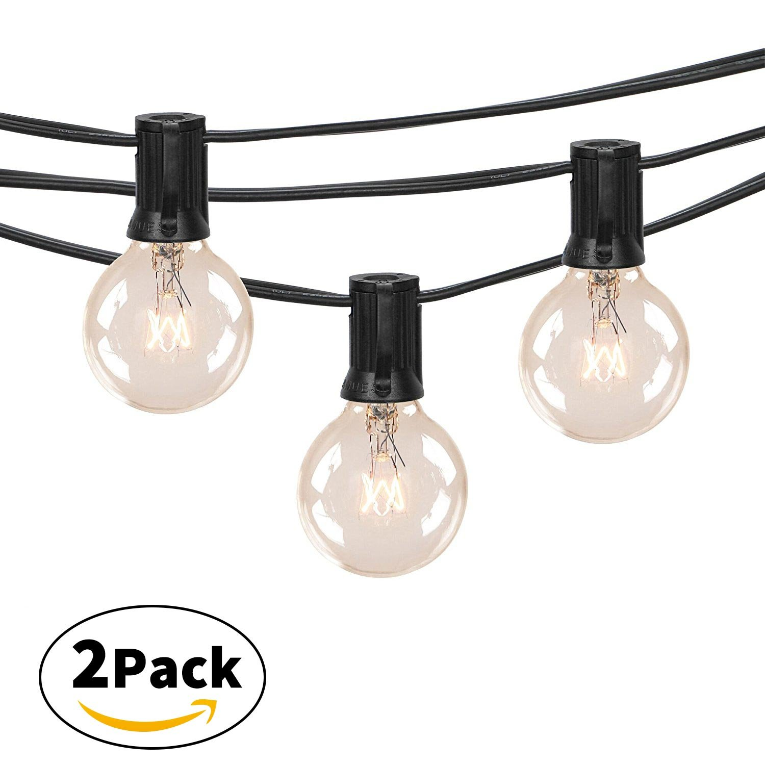 2-Pack 25Ft Outdoor Patio String Lights with 25 Clear Globe G40 Bulbs, UL Certified for Porch Backyard Deck Bistro Gazebos Pergolas Balcony Wedding Markets Decor, Black