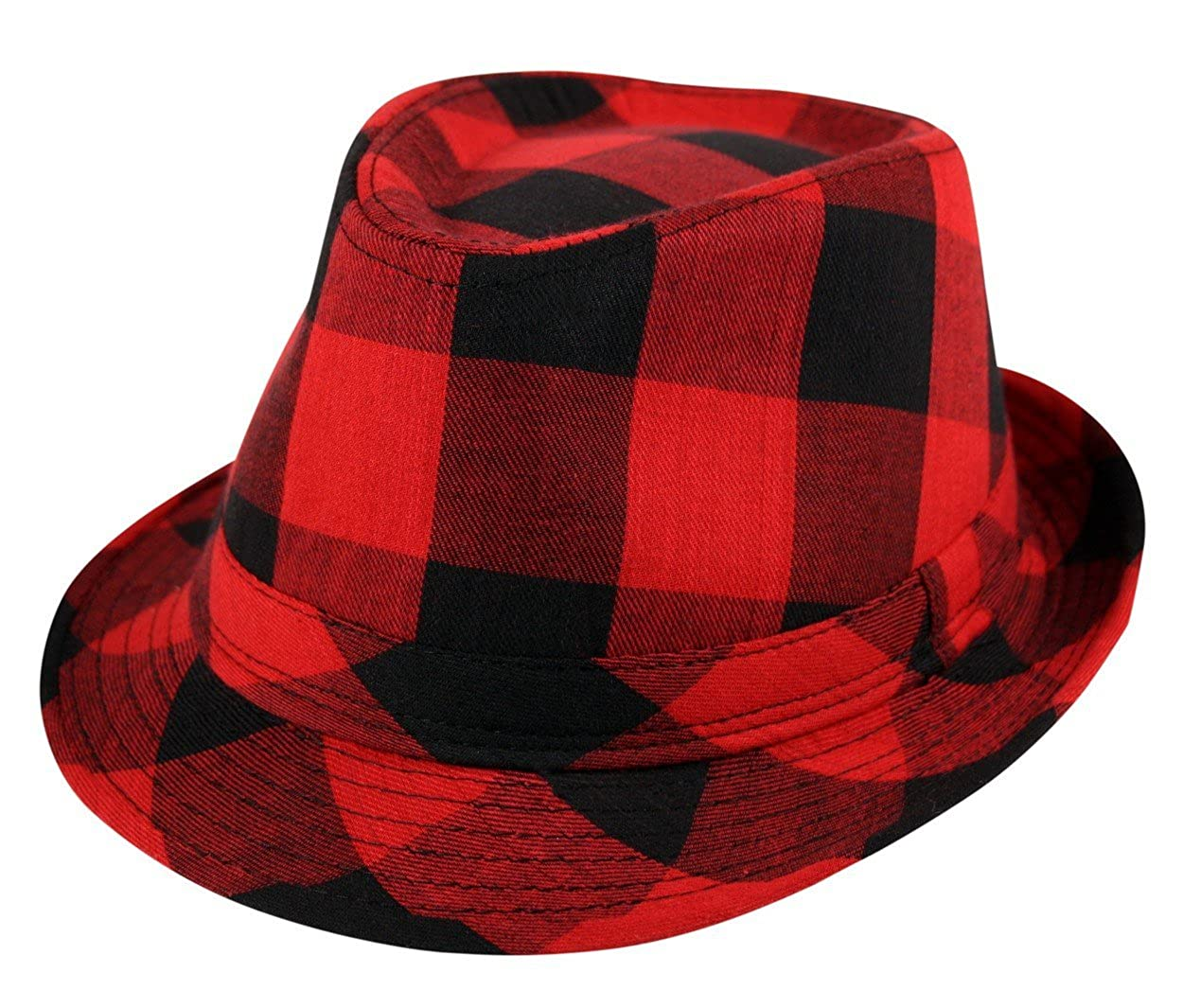 Itzu Trilby Lumberjack Check Fedora Crushable Foldable Hat in Black Pink Turquoise Purple Red
