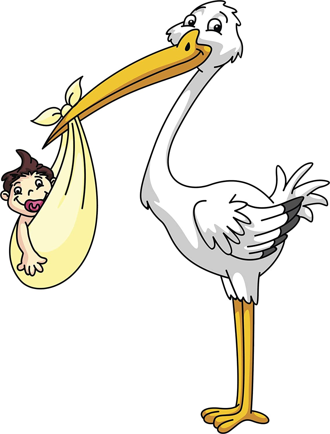 Amazon Com Cute Happy Delivery Stork With Baby Shower Cartoon Vinyl Decal Sticker 12 Tall Automotive