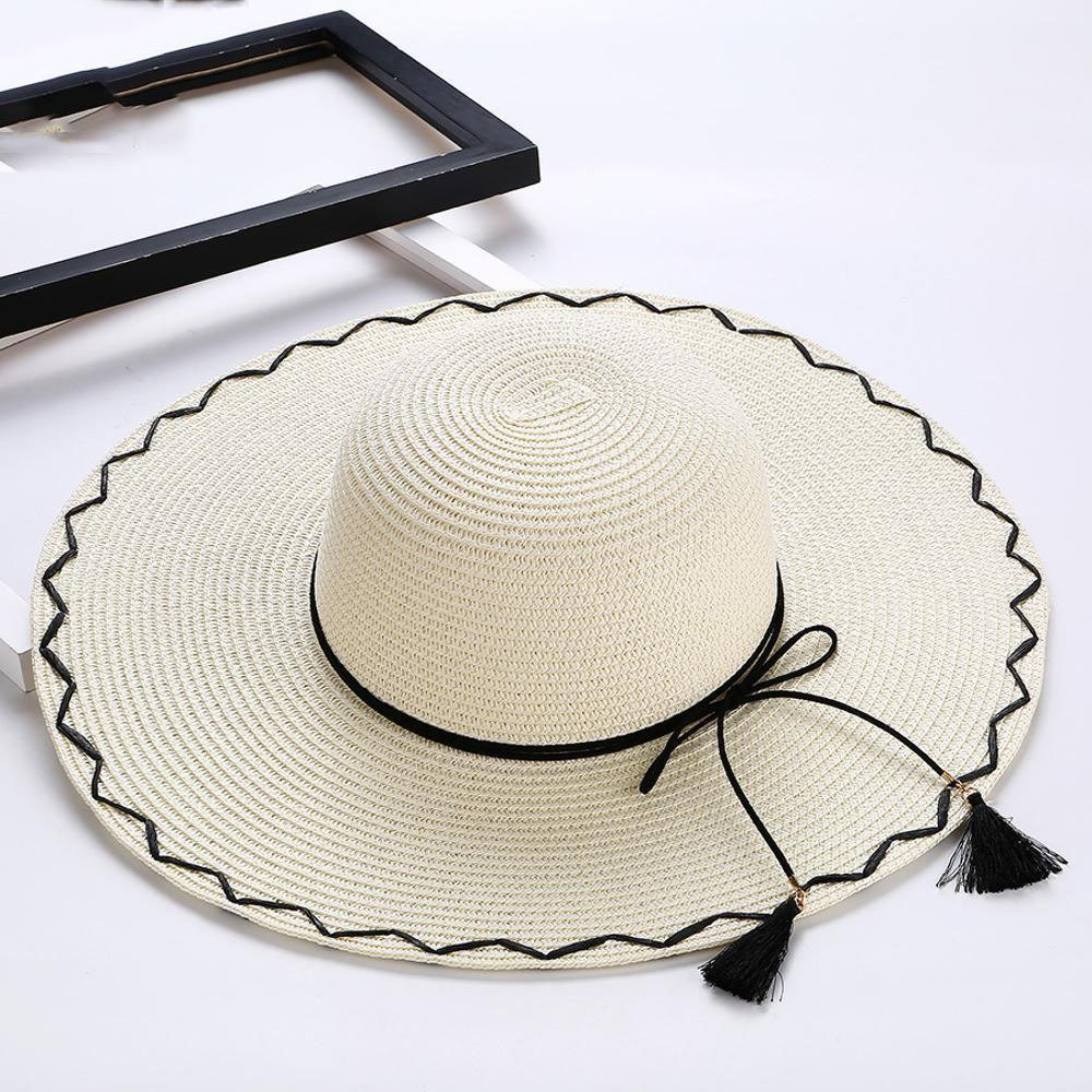 Axiba Grande señora Paja Sombrero Sol Sombrero Verano excursión Costera  Playa Sombrero  Amazon.es  Jardín 0c92f5795a3