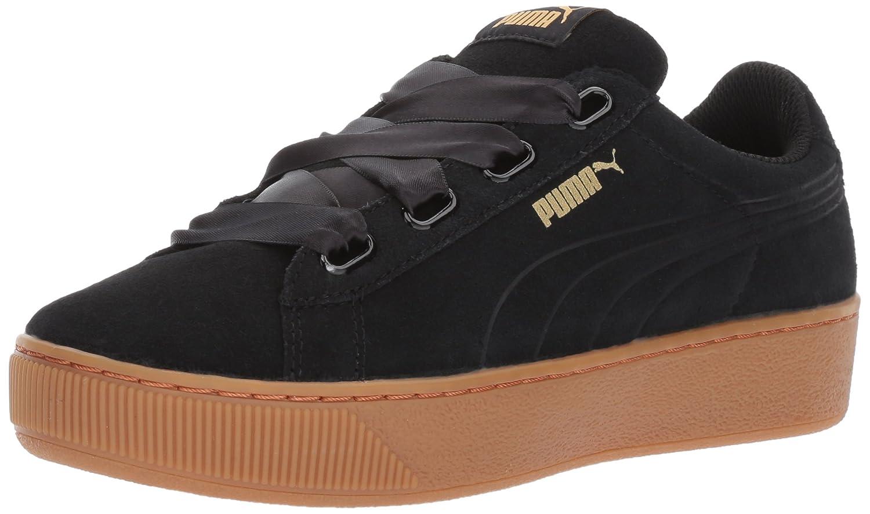 PUMA Women's Vikky Platform Ribbon Sneaker B01MSZLXJS 8 M US|Puma Black-puma Black