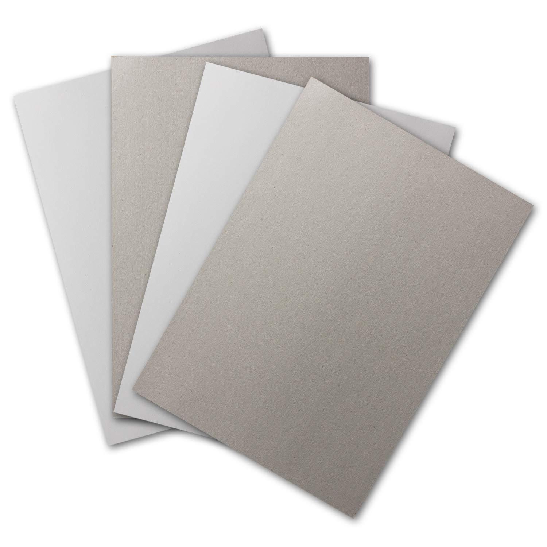 210 x 297 mm Bastel-Karten 2-seitig Wei/ß-Glatt /& Grau-Rauh 30x Plano-Pappe DIN A4 400 g//m/²