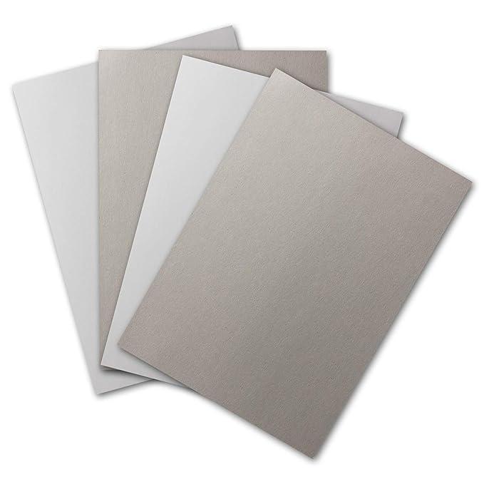 Bastel-Karton 297 x 420 mm 400 g//m/² 2-seitig Wei/ß-Glatt /& Grau-Rauh 30x sehr Starke Plano-Bogen DIN A3 Schachtel-Pappe