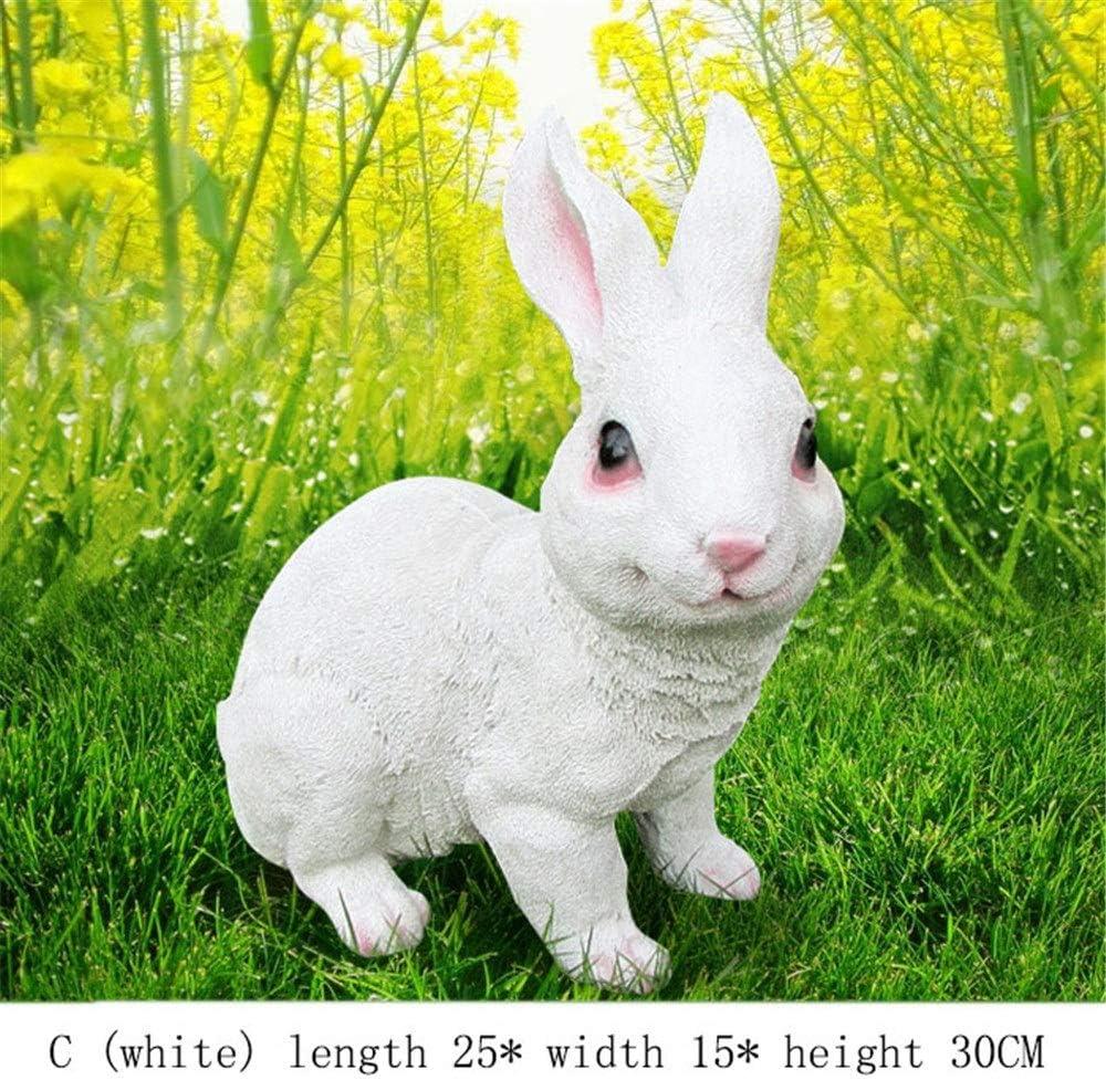 Conejos Conejos Adornos de jardín Conejito al Aire Libre a Prueba de Intemperie Figuras de jardín en Miniatura (Color : Blanco, tamaño : C): Amazon.es: Hogar