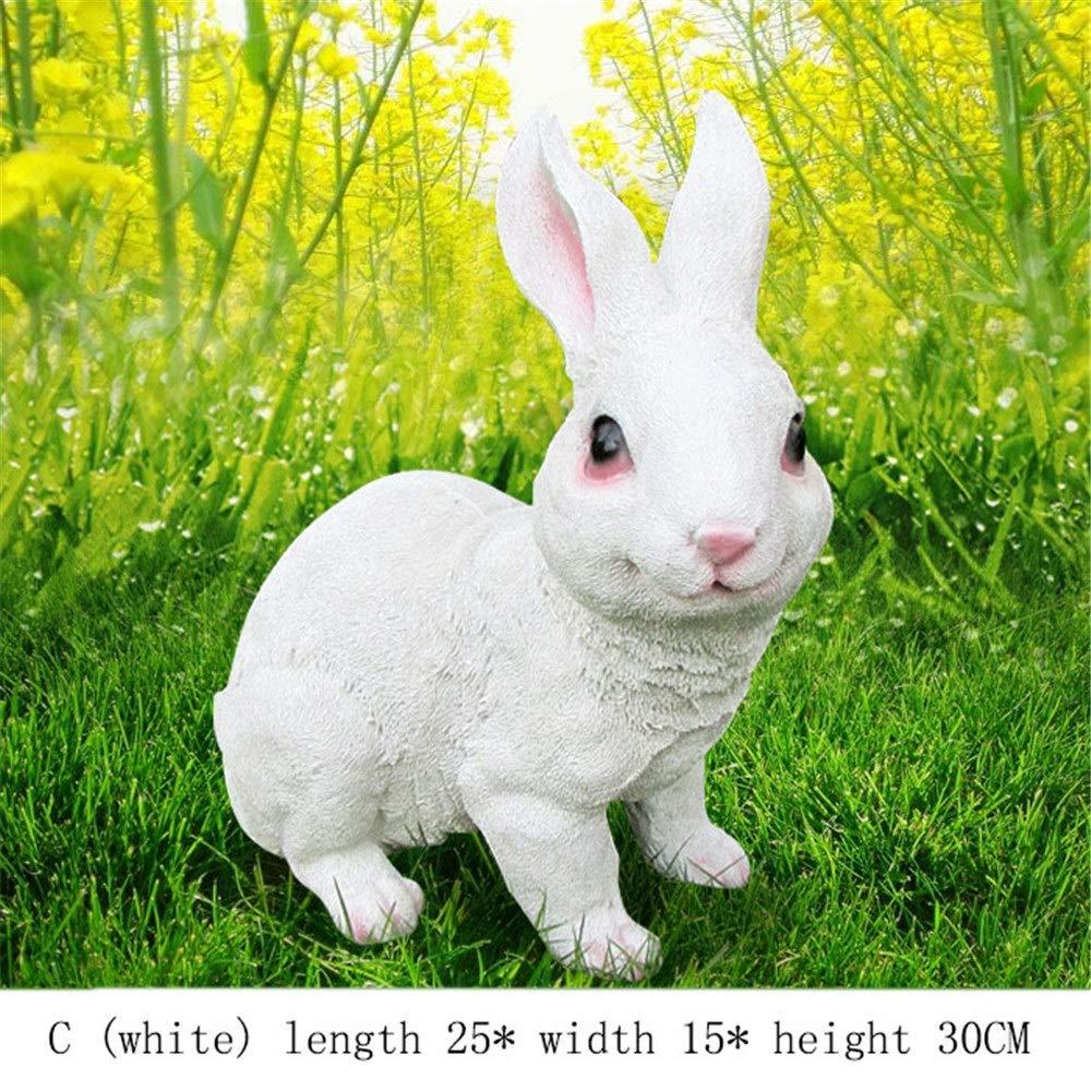 Crystalzhong-FP Bunnies Rabbits Bunny Garden Ornaments Outdoor Weatherproof (Color : White, Size : C)
