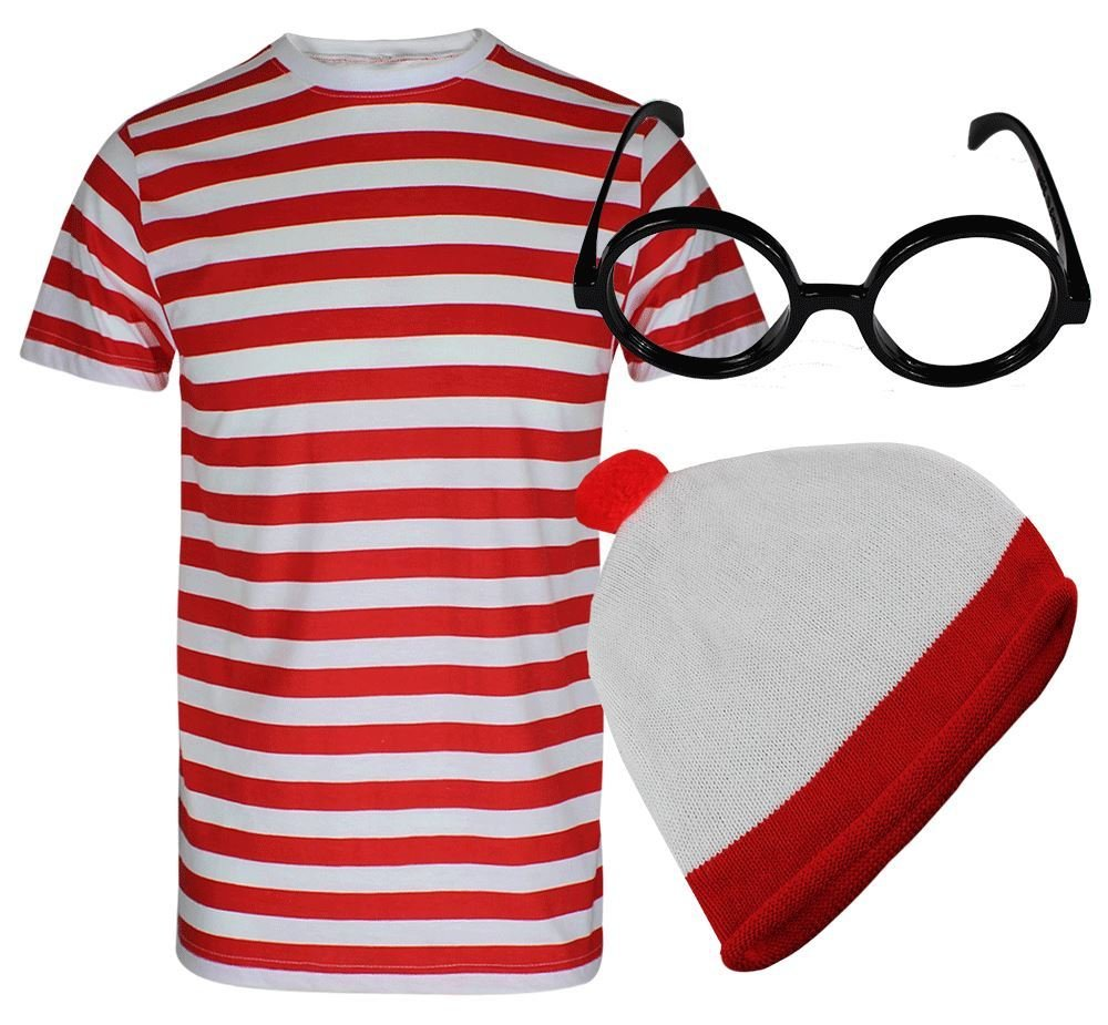 REAL LIFE FASHION LTD Red & White Stripe T Shirt Kids Glasses Hat Short Sleeve Book Week Fancy Costume#(Red & White Shirt + Glasses + Hat#5-6 Year#Kids) by REAL LIFE FASHION LTD
