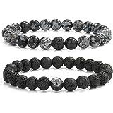 MengPa Mens Beaded Bracelets Lava Rock Stone Beads for Women Anxiety Volcanic Bracelet