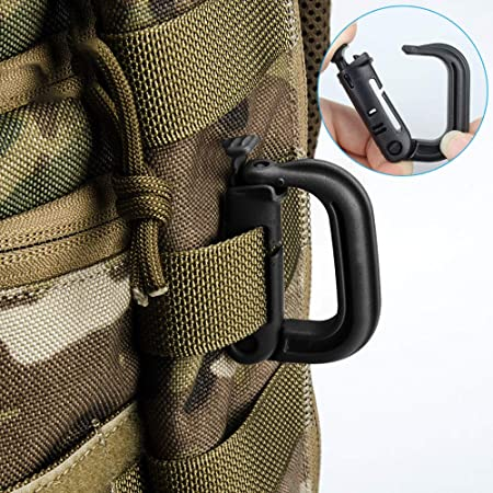 6dd29fa5800c Yotako 19 Pieces Tactical Gear Clip Set for Tactical Backpack Molle  Bag,D-Ring Locking,Web Dominator Elastic String &Buckles,MOD Straps,Key  Ring ...