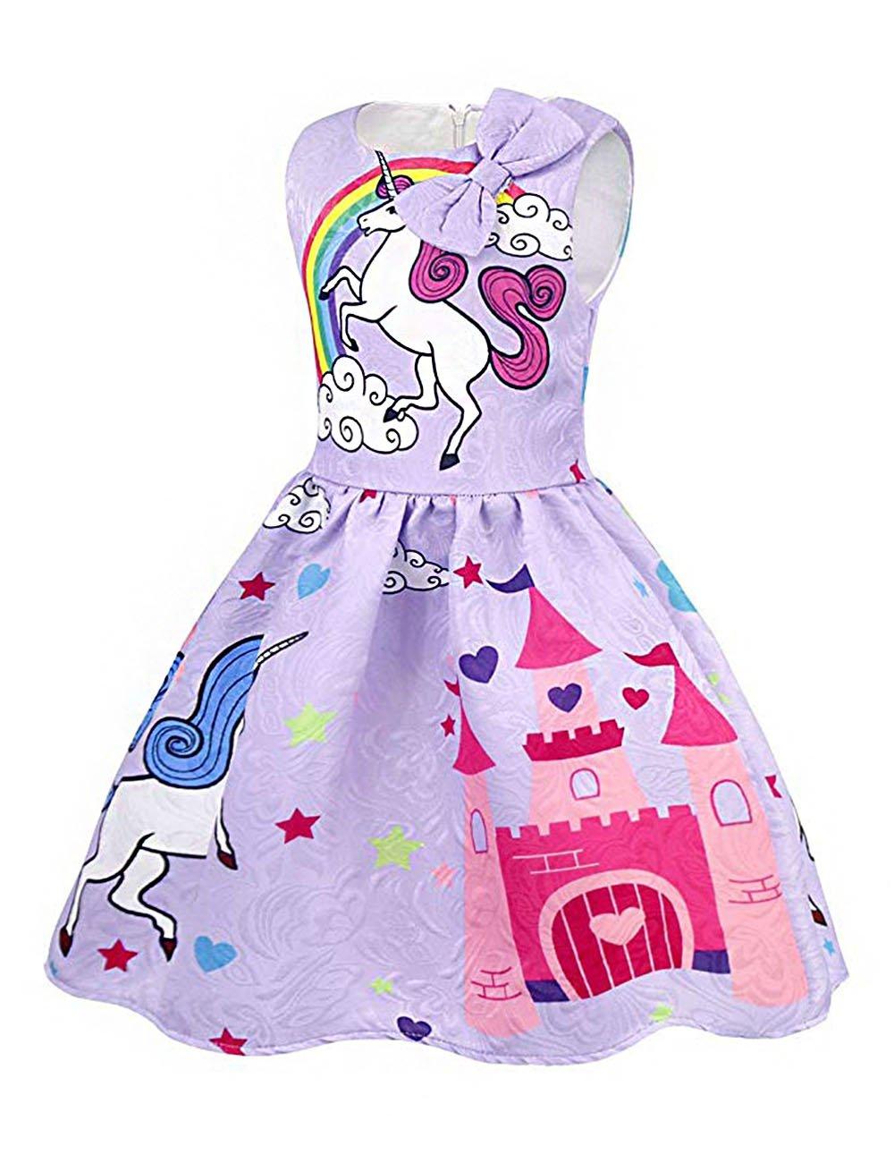 KYMIDY Summer Girls Unicorn Dress Rainbow Toddler Pleated Casual Dress