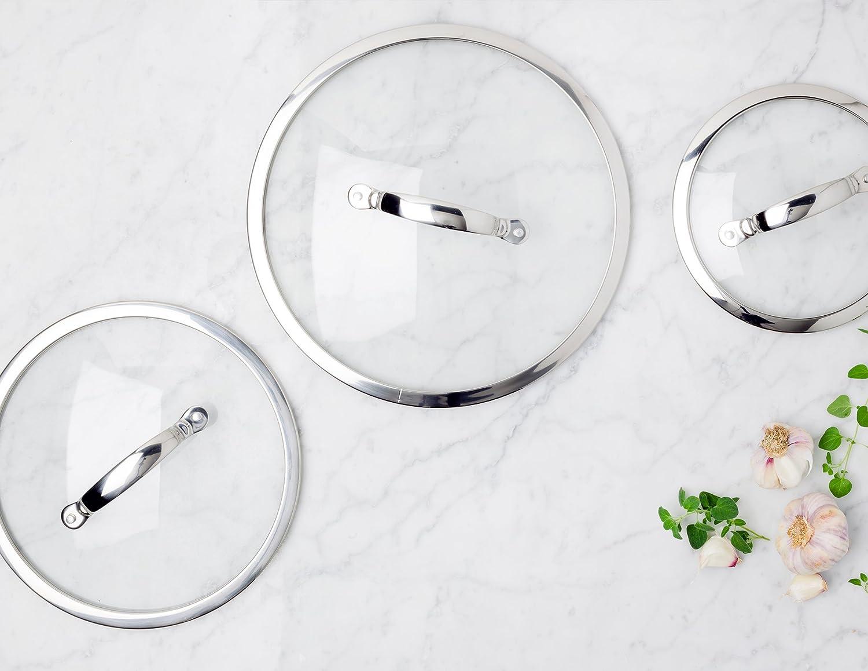 GreenPan coperchio in vetro con bordo in acciaio INOX Univesal vetro temperato con manico in metallo 20 cm