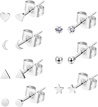 Hypoallergenic steel Stainless Steel Studs geometric posts Minimalist circle earrings Sensitive Skin Surgical Steel gifts for her