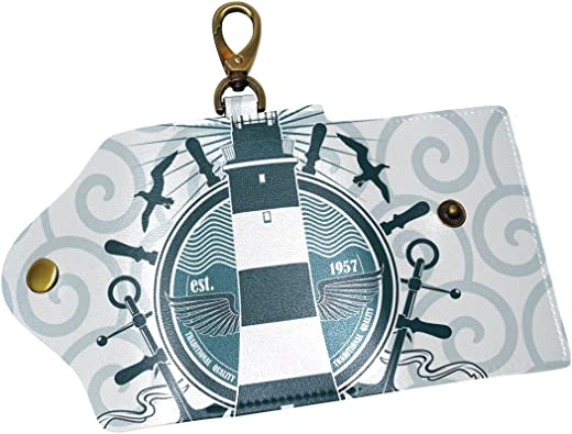 KEAKIA Anchors Leather Key Case Wallets Tri-fold Key Holder Keychains with 6 Hooks 2 Slot Snap Closure for Men Women