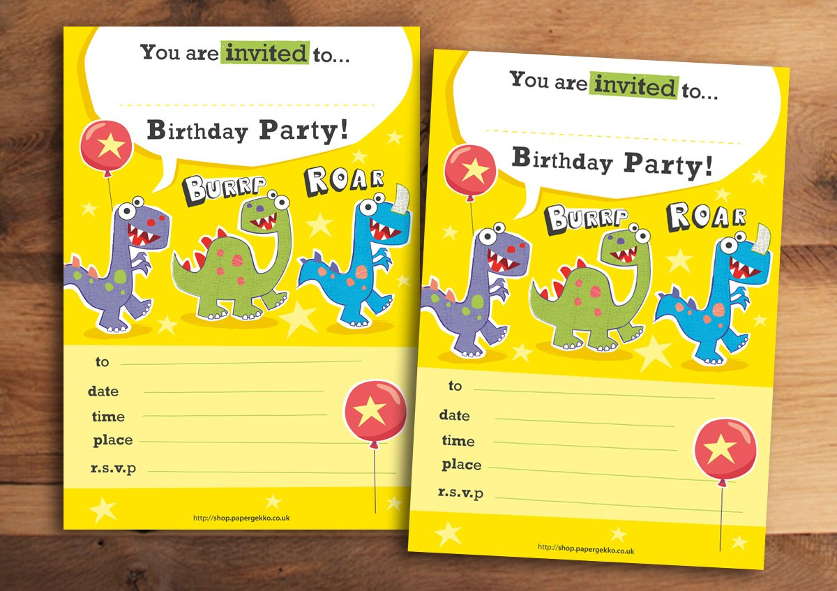 20 Children's Birthday Party Invitations Dinosaur Paper Gekko