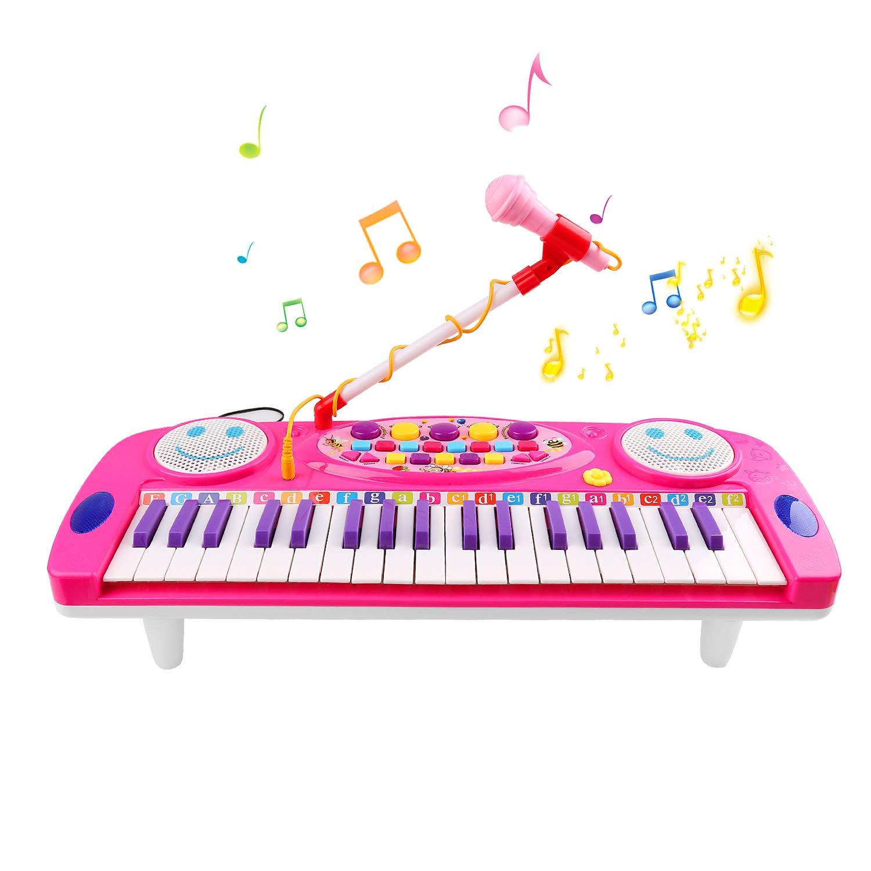 Piano pour Enfants, Jouets de Piano D'enfants Piano Électronique de 37 Clés Avec le Microphone Clavier Musical Multi-fonction D'orgue Électronique pour des Enfants et Des Débutants - Rose Zmoon