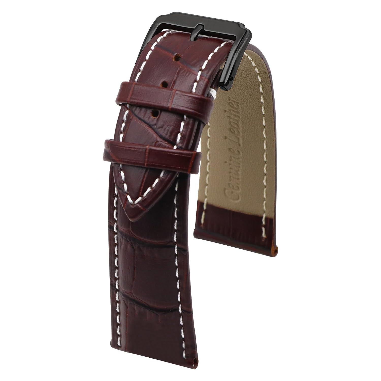 autulet純正ファッションレザー時計バンドブラウンwithホワイトライン 21 21   B07C7JPQHX