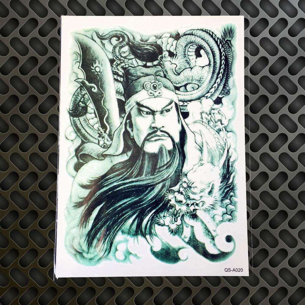GVDTYKJF Tatuajes Temporales 1 Unid Gran Tamaño Grande Guan Yu ...