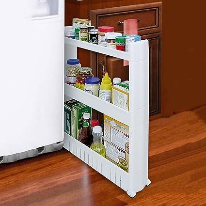 Taylor & Brown®, Mobiletto porta oggetti sottile ed estraibile per cucina o  bagno, con ripiani, su ruote, plastica, 3 ripiani