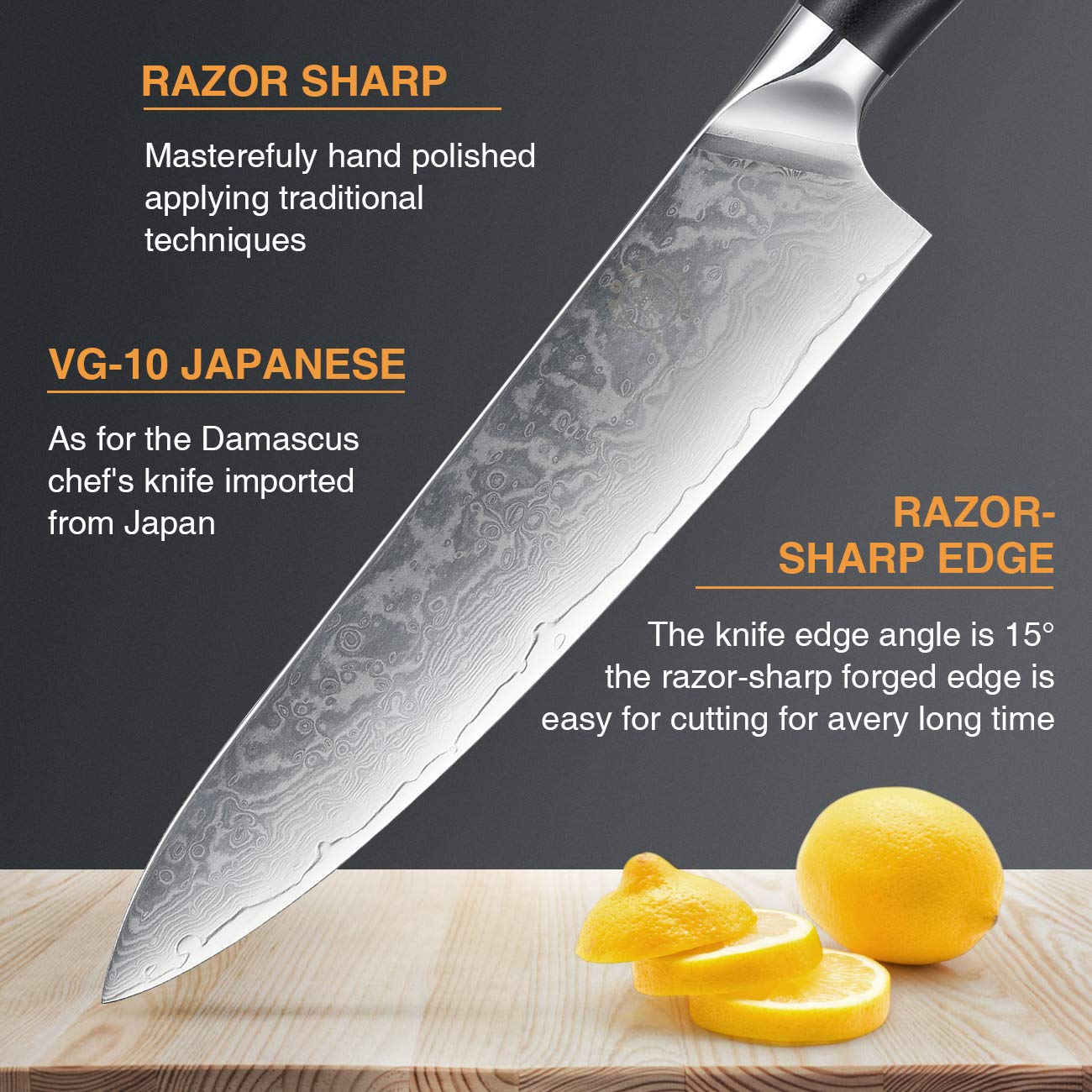 Damascus Chef Knife, Inofia 8-Inch Pro Kitchen knives Japanese 67 Layer VG-10 High Carbon Stainless Steel with Ergonomic Handle and Wooden Block holder by Inofia US (Image #9)