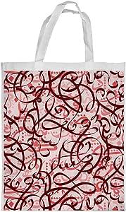 حقيبة تسوق ذات رسومات زخرفية, احمر, حجم كبير