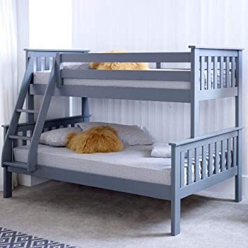 Happy Beds Atlantis Triple Sleeper Bunk Bed Grey Wooden With 2 X